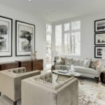 Living Room with White Furniture and Abstract Wall Art